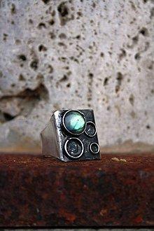 Prstene - Labradoritová bublina - cínovaný prsteň - 8906242_