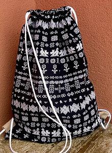 Batohy - vrecko na chrbát - čičmany modrá - 8904441_