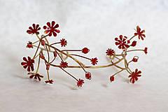 Ozdoby do vlasov - Exkluzívny červený kvietkový venček s prírodnými červenými koralmi - Slavianka - 8902707_