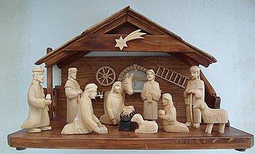 Socha - Drevený vyrezávaný betlehem 5 - 8903692_