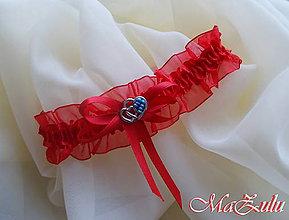 Bielizeň/Plavky - Svadobný podväzok s kúskom modrého - 8905652_