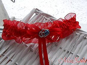 Bielizeň/Plavky - Svadobný podväzok s kúskom modrého - 8905653_