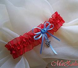 Bielizeň/Plavky - Svadobný podväzok s motýlikom - 8905720_