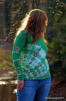 Tričká - Dámske tričko batikované, maľované PERNÍKOVÉ - 8902667_