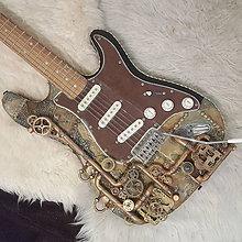 Hudobné nástroje - STEAMPUNK elektrická gitara - 8903091_