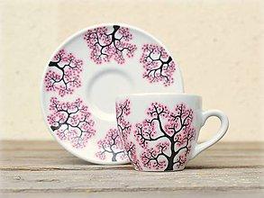 Nádoby - Maľovaná šálka s podšálkou - Sakura (80 ml) - 8905941_