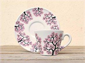 Nádoby - Maľovaná šálka s podšálkou - Sakura (130 ml) - 8905947_
