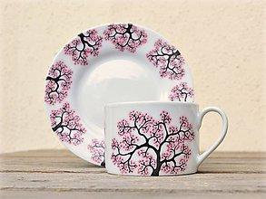 Nádoby - Maľovaná šálka s podšálkou - Sakura (200 ml - rovná) - 8905951_