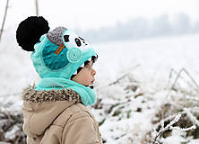 Detské čiapky - Hrejivý set s pandou - 8902444_