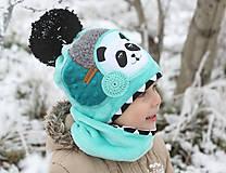 Detské čiapky - Hrejivý set s pandou - 8902449_