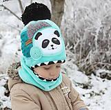 Detské čiapky - Hrejivý set s pandou - 8902450_