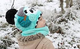 Detské čiapky - Hrejivý set s pandou - 8902452_