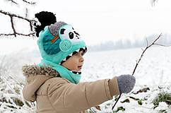 Detské čiapky - Hrejivý set s pandou - 8902454_