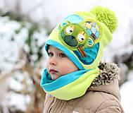 Detské čiapky - Hrejivý setík a mackom - 8902497_