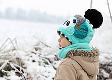 Detské čiapky - Hrejivý set s pandou - 8902710_