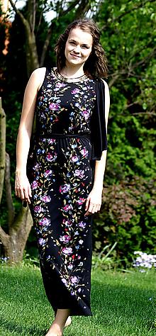 Šaty - Ručne maľované  čierne šaty - 8902631_