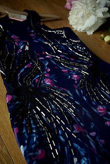 Šaty - Ručne maľované krásne tmavomodré šaty - 8902687_
