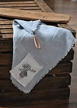 Úžitkový textil - ľanová utierka s aplikáciou soba - 8902156_