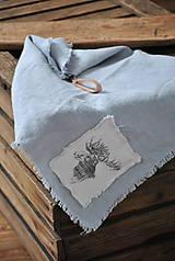 Úžitkový textil - ľanová utierka s aplikáciou soba - 8902157_