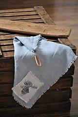 Úžitkový textil - ľanová utierka s aplikáciou soba - 8902158_