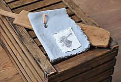 Úžitkový textil - ľanová utierka s aplikáciou soba - 8902159_