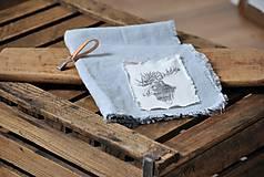 Úžitkový textil - ľanová utierka s aplikáciou soba - 8902160_