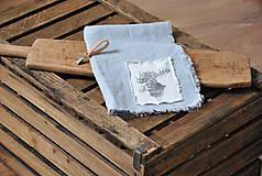 Úžitkový textil - ľanová utierka s aplikáciou soba - 8902162_