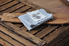 Úžitkový textil - ľanová utierka s aplikáciou soba - 8902164_