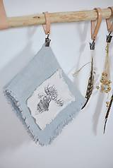Úžitkový textil - ľanová utierka s aplikáciou soba - 8902165_