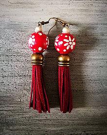 Náušnice - Visiace Strapčice Červené - 8905361_