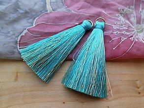 Polotovary - Veľké hodvábne strapčeky - pár- zľava (Tyrkysové) - 8904170_