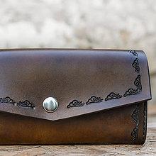 Peňaženky - Kožená dámska peňaženka XXL zdobená - 8902091_