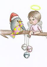 Kresby - Anjelik, vtáčik a rolničky - 8903720_