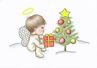 Kresby - Anjelik, vianočný darček a vianočný stromček - 8904364_