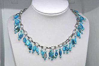 Sady šperkov - Perleťová azurová sada - 8909386_