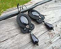 - Soutache náušnice Black Pearl Elegant - 8908059_