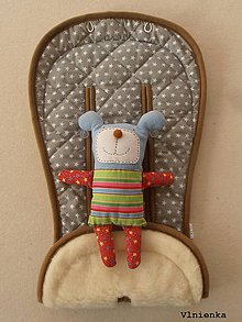 Textil - 100% MERINO wool Podložka do kočíka Bugaboo/ Joolz/ Valco/ Petite and Mars Hviezdička sivá - 8910088_