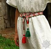 Opasky - Tkaný opasok Orepej (zeleno - červený) - 8908330_