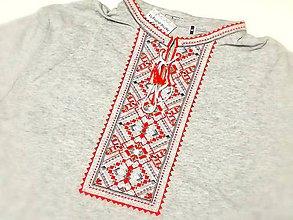 Oblečenie - Vyšívané tričko Sivo-Červené - 8909208_