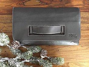 Kabelky - CLUTCH - šedý s púdrovoružovým vnútrom - 8907377_