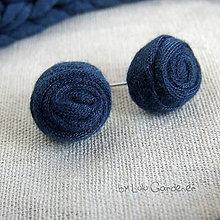 Náušnice - Náušnice . Textilky (Modrá) - 8908934_