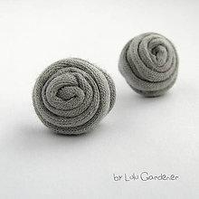 Náušnice - Náušnice . Textilky (Šedá) - 8908945_