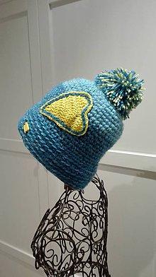 Čiapky - Háčkovaná čiapka - Slnečné srdce na modrom nebi - 8909081_