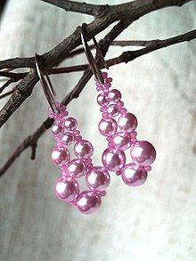 Náušnice - kvapky ružové - 8908471_