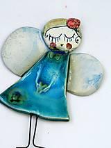 Dekorácie - anjel Bambuľka tyrkysový  (Tyrkysová) - 8906871_