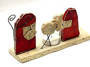 Svietidlá a sviečky - betlehem svietnik  červený - 8906826_