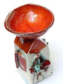 Svietidlá a sviečky - vonná lampa dom oranžová - 8906942_