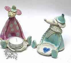 Svietidlá a sviečky - svietnik myš - 8907128_