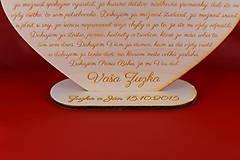 Darčeky pre svadobčanov - Drevene srdiečko ako poďakovanie rodičom  2 - 8907974_