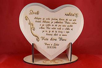 Darčeky pre svadobčanov - Poďakovanie rodičom - lipové srdiečko + stojanček 4 - 8907987_